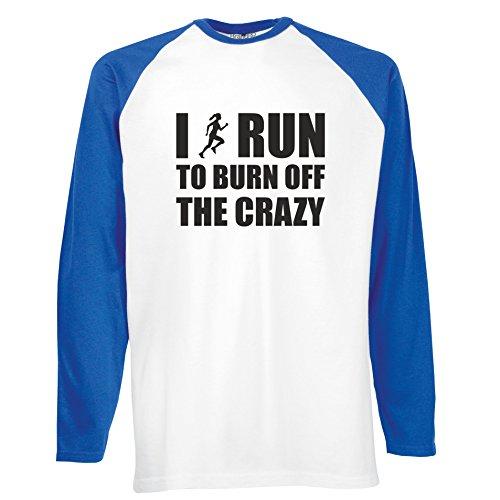 Brand88 - I Run To Burn Off The Crazy, Langarm Baseball T-Shirt Weiss & Blau