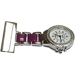 Diamante 2 tone - Purple & Silver Nurses Medical Doctors Fob Watch