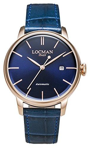 Locman 1960 Automatic / orologio unisex / quadrante blu / cassa acciaio rose gold / cinturino pelle blu