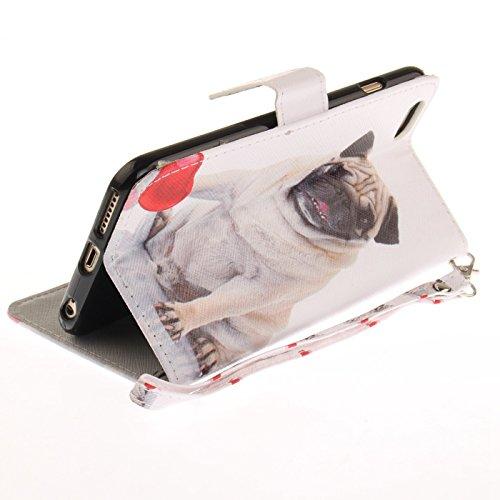 iPhone 7 4,7Zoll Schutzhülle,iPhone 7 Leder Hülle,TOYYM Ultra Dünn Full Body Protection Flip Leder Wallet Brieftasche Case 3 in 1 Handytasche mit Stand Funktion Kartenfächer Magnetverschluss,Kreative  Süßer Hund