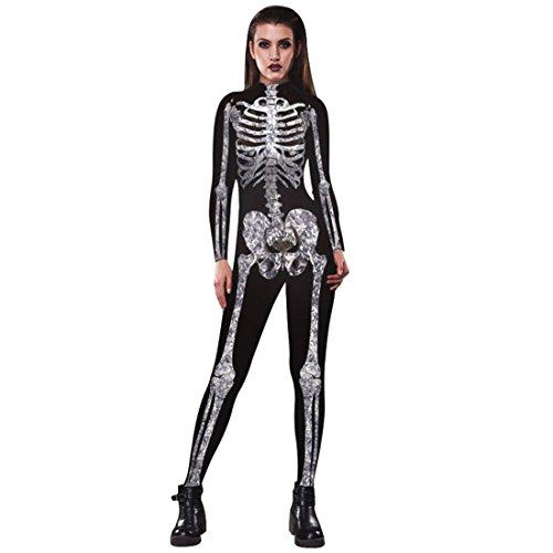 ostüme Skelette Gedruckter Jumpsuit für Halloween Karneval Cosplay weiß S (Damen Skelett Jumpsuit)