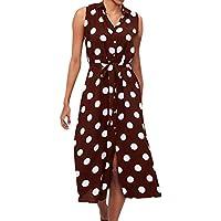 Indexp Dresses for Women Casual Summer,Fashion Women Boho Dress Polka Dot Prints V Neck Waist Lace Up Sleeveless Dress
