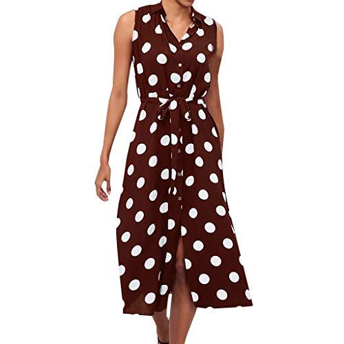 iHENGH Damen Sommer Rock Lässig Mode Kleider Bequem Frauen Röcke Boho Kleid Polka Dot Prints V Ausschnitt Taille Lace Up ärmelloses Kleid(Braun, 2XL) -