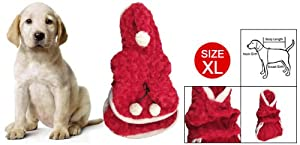 White Trim Red Plush Christmas Pom Pom Hooded Clothes for Dog XL from sourcingmap
