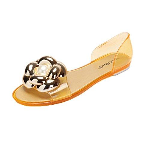 Bescita Sommer Frauen Fisch Mund Plastik flache Sandalen Casual Jelly Dreidimensionale Dekoration Strand Schuhe Gold