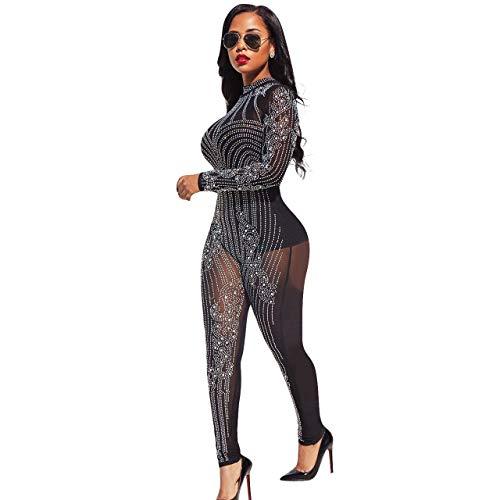 shengshiyujia Womens Sexy Long Sleeve See Through Rhinestone Bodycon Jumpsuit,Black,S Rhinestone Jumpsuit