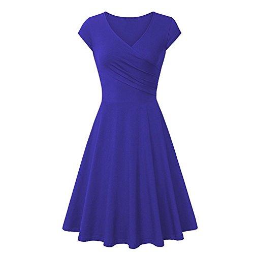 NALATI Damen Sommerkleid V-Ausschnitt High Waist Strandkleid mit Faltenwurf  Wickelkleid Knielang Kurzarm Stretchkleid Blau