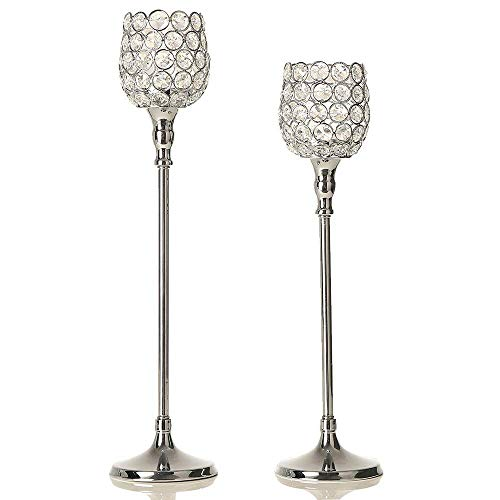VINCIGANT Silber Kristall Kerzenständer gesetzt für Hochzeit Dekoration Haus Dekoration Couchtisch Dekor Tabelle Kernstück,43cm&48cm Höhe