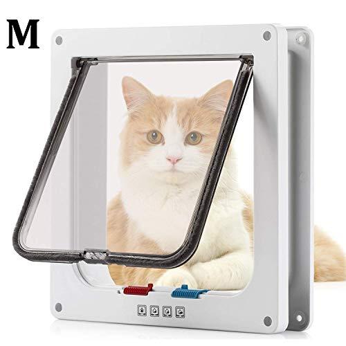 Pujuas Katzenklappe Hundeklappe mit 4-Wege-Magnet-Schließ, Haustierklappe für Katzen und kleine Hunde, Katzentüre mit Tunnel (M, weiß)