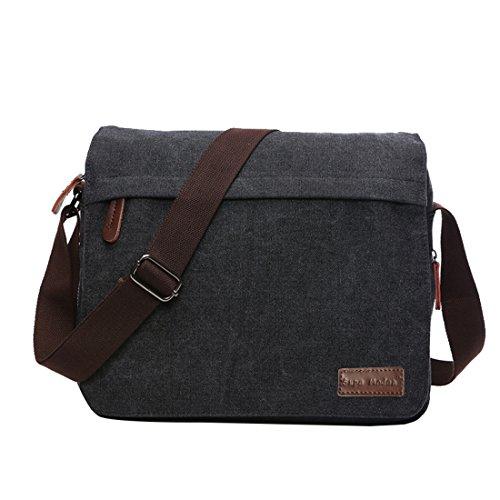 Super Modern Leinwand Messenger Bag Umhängetasche Laptop Tasche Computer Tasche Umhängetasche aus Segeltuch Tasche Arbeiten Tasche Umhängetasche für Männer und Frauen, Herren, Black Large