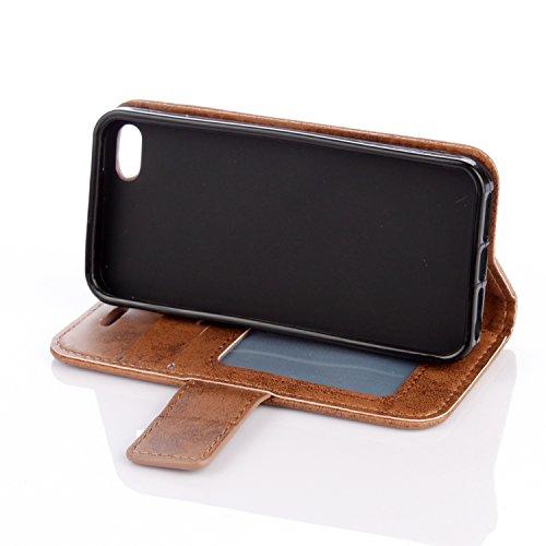 Flip Cover per iPhone SE,Custodia per iPhone 5S Pelle Fiori,BtDuck Ultra Sottile PU Pelle Retro modello di Fiori Mandala Shell protettivi Bumper Wallet Caso Custodia in Pelle per iPhone 5/iPhone 5S/iP iPhone SE/5S/5 -Caffè