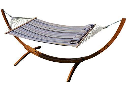 375 cm XXL luxe stand du hamac bois de mélèze stand du hamac huilé BRÉSIL-G avec Hamac rayé et ameublement