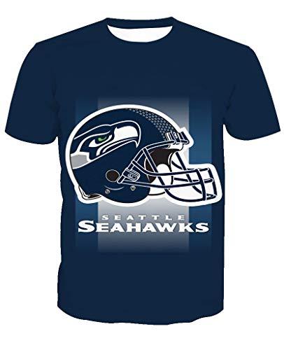 Herren Oansatz Kurzarm 3D Print Seattle Seahawks Fußball Team Sommer T-Shirts(S,Blue) -