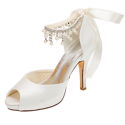 Emily Bridal Brautschuhe Elfenbein Hochzeit Schuhe Satin High Heels Peep Toe Perlen Lace Up Brautschuhe (EU40, Elfenbein) -