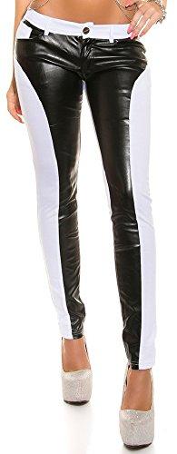 Elegante Mujer Pantalón Pantalón Varios Colores Camuflaje Talla S M L XL XXL * con piel imitación de plástico applikation Push Up Skinny Pant blanco (cuero) 38