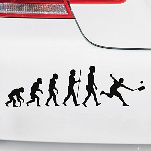 Motoking Autoaufkleber - Lustige Sprüche & Motive für Ihr Auto - Evolution Tennis - 25 x 7,3 cm - Dunkelblau Seidenmatt
