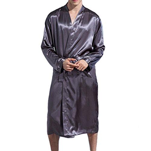 Mxssi Mode Kimono Männer Robe Langarm Seidensatin Langer Bademantel Leichte Nachtwäsche Gürtel Solide Morgenmantel Pyjamas Männliche Robe