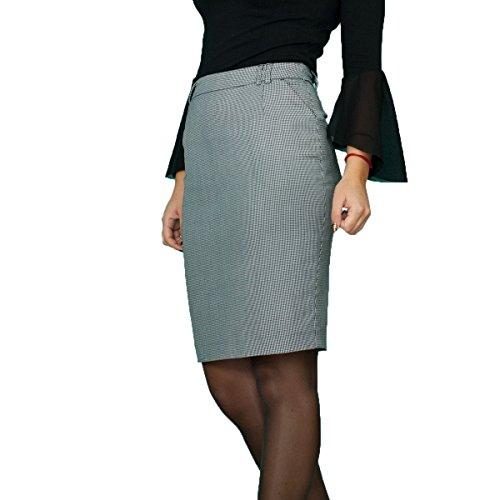 Lässiger Warme Winter Wolle Wool Rock Bleistift Schwarz Weiß Pepita Größe EU 36 38 40 42 44 46 48 50 (44) (Schwarze Wolle-bleistift-rock)