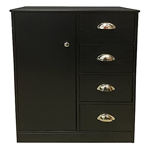 Redstone Black Bathroom Cabinet - 4 Drawers + Cupboard -
