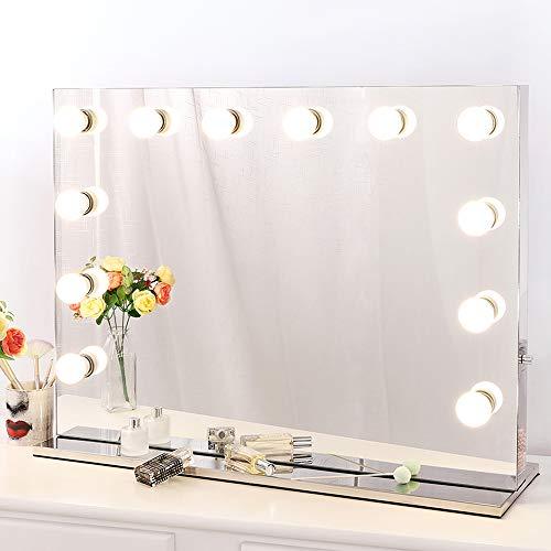 Chende Tabletop Rahmenlos Hollywood Schminkspiegel mit Beleuchtung Bühne Kosmetikspiegel, Schönheit Theaterspiegel groß, LED beleuchtet schminktisch Spiegel, Freie Glühbirnen (80cm X 60cm, Rahmenlos)