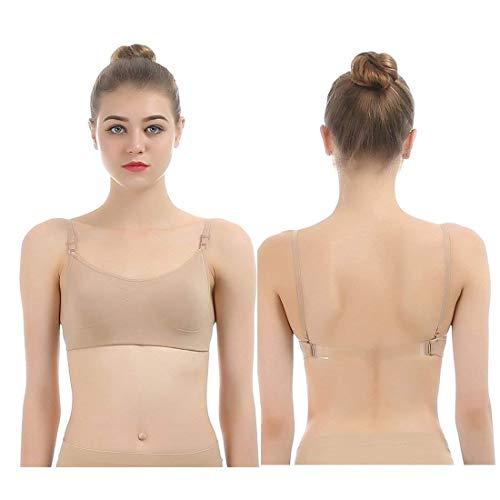 iMucci Nahtloser rückenfreier BH mit verstellbaren transparenten Trägern für Balletttanz-Party,für Kind, Beige -