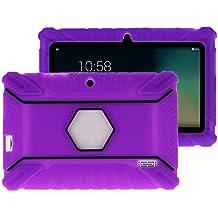 """Fukalu Funda de la Cubierta 7 pulgadas de silicona a prueba de golpes para los niños para Jeja La tableta de 7 """"Dragón táctil de 7 pulgadas, iRULU X1S Tablet de 7 pulgadas, Yuntab Q88 A33 7 pulgadas, iRULU niños de 7 pulgadas, Alldaymall A88X Tablet 7 pulgadas, ibowin P740 7 Pulgadas (Púrpura2)"""