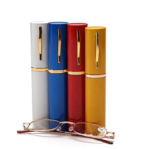Distinct® Art- und Weiseunisexmetalllesegläser mit Schlauch-Fall-gelegentliche Farbe (+ 2.50D)