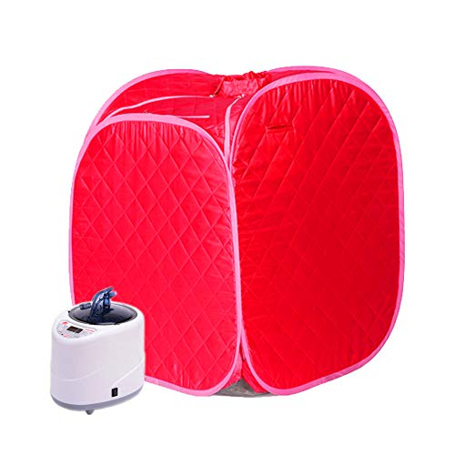 Hixgb sauna per uso domestico camera per sauna portatile vapore sauna a vapore detox fumigazione spa perdita di peso sauna tenda, 0-99 minuti di tempo, 1-9 regolazione della temperatura,red