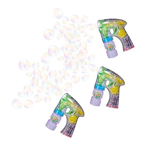 3 x Seifenblasenpistole mit LED, Seifenblasenmaschine für Kinder, inkl. Batterien und Seifenlauge, für Geburtstag und (Bubble Maschine Party)
