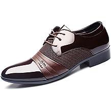 ailishabroy Zapatos de cordones de Piel para hombre Encaje Vestidos De Fiesta Oxfords (43 EU, Marrón)