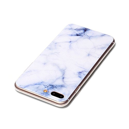 iPhone 7 Plus Hülle, SHUNDA Ultra Dünn Schutzhülle Weiche TPU Silicone Stoßstangen Handyhülle Abdeckung Rückschale Case cover für iPhone 7 Plus (5.5 inch) - Feder Weiß Marmor