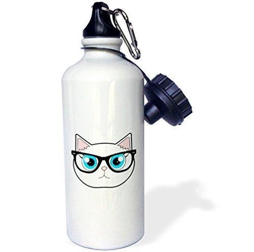 liandun Cute Hipster Cat mit Brille Sport Wasser Flasche, Klauenhammer/Latthammer, weiß