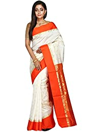 B3Fashion Women's Garad Silk Saree With Blouse Piece (Ags552,Off White & Red,Free Size)