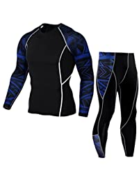 7a1567fd29ab QinMM Collant Yoga Pantalons +Costume Chemise Séchage Rapide Homme,  Leggings Fitness Sports Gym