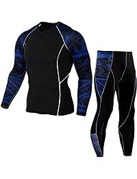 QinMM Collant Yoga Pantalons +Costume Chemise Séchage Rapide Homme,  Leggings Fitness Sports Gym db3da9d8ce4