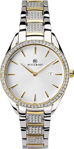 Accurist Femme montre à quartz avec cadran argenté analogique et deux tons Pierre Ensemble de bracelet 8218