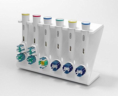 Bürstenkopf-Halter für 6x Bürstenköpfe für elektrische Zahnbürsten, in verschiedenen Farben weiß