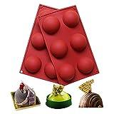 BAKER DEPOT 6 Löcher Silikonform für Schokolade, Kuchen, Gelee, Pudding, handgefertigte Seife, runde Form, Durchmesser: 6.5cm, 2er Set