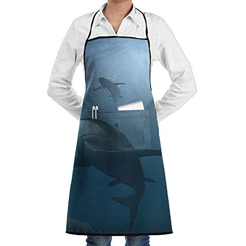Grill Aprons Kitchen Chef Bib Ocean Scary Shark Extra Long Adjustable Ties for - Extra Scary Kostüm