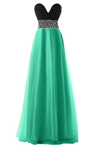 KekeHouse® Herzausschnitt A-Linie Maxi Tüll Brautjungkleid mit Pailletten Verzierung Abendkleid Ballkleid Partykleid Grün Maßanfertigung