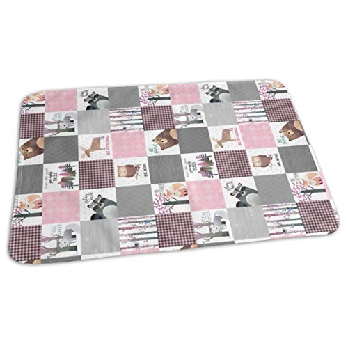 4.5 Blocks Woodland Critters Patchwork Quilt - Bear Moose Fox Raccoon Wolf, Gray U0026 Pink Design ROTATED GingerLous Baby Portable Reusable Changing Pad Mat 19.7X 27.5 inch -