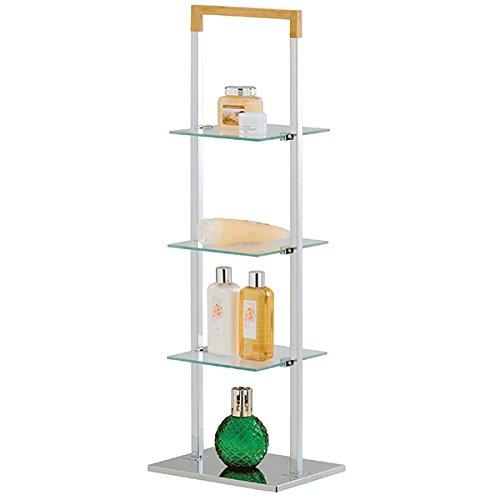 Mondex inx421–00freistehend Badezimmer Regal Bamboo/Metall verchromt 27,5x 21,5x 82,5cm