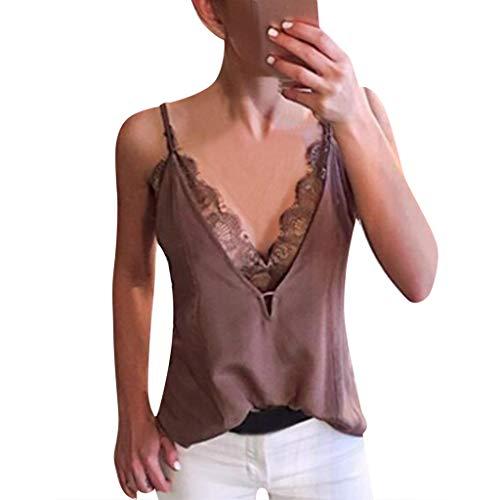 Andouy Damen Camis - Oberteil mit tiefem V-Ausschnitt, ärmellose Trägerhose Gr.36-42 Sexy Party-Bluse(L(40),) Ohio Heavyweight Sweatshirt