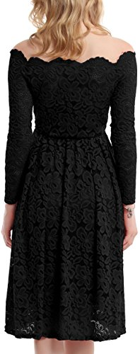 Meyison Damen Vintage 1950er Off Schulter Spitzenkleid Knielang Festlich Cocktailkleid Abendkleid Rockabilly Kleid Gr.34-48 Schwarz