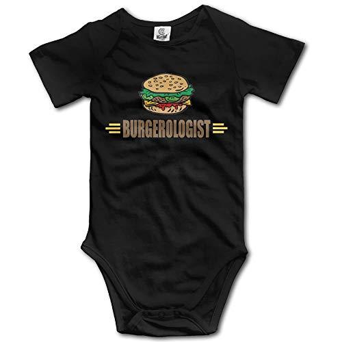 TKMSH Funny Hamburger Newborn Babys Short Sleeve Jumpsuit Outfits Black