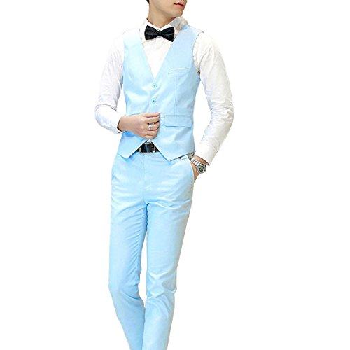 Costume homme Un Boutons Mode Slim fit Trois Pièces Elégant Business Mariage Bleu Clair