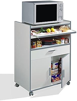 Habitdesign 009910O - Mueble auxiliar mesa cocina con un cajón y dos puertas, color Blanco, medidas: 92 x 59 x 40 cm de fondo
