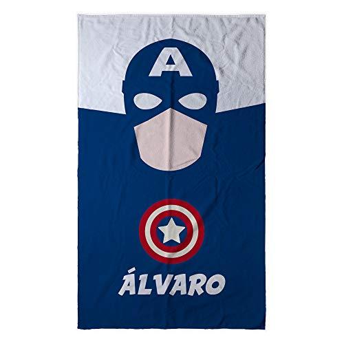Lolapix telo mare microfibra supereroi personalizzato con nome | regalo geek | vari disegni e dimensioni tra cui scegliere | capitan america