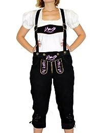 Damenlederhose Trachten Lederhose aus Ziegenvelour Schwarz//Weiß German Wear