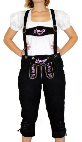 Damenlederhose Damen Trachten Lederhose aus Ziegenvelour SCHWARZ Rosa, Größe:52